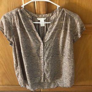 Pink & black short sleeve blouse